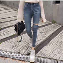 Load image into Gallery viewer, Mozuleva 2019  Sexy High Waist Tassel Ripped Holes Denim Pants Female Trousers Pencil Jeans Women Skinny Pants Black Jeans