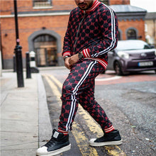 Load image into Gallery viewer, New Colorful Plaid Men Casual Zipper Set Autumn Tracksuit Set Male Sweatshirt Pocket Fashion Jackets Men Tracksuit Sets Mens set