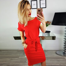 Load image into Gallery viewer, New Summer Women Dresses Casual Short Sleeve O-Neck Striped Plus Size Slim Bodycon Dress Female Solid Pockets Midi Cotton Dress