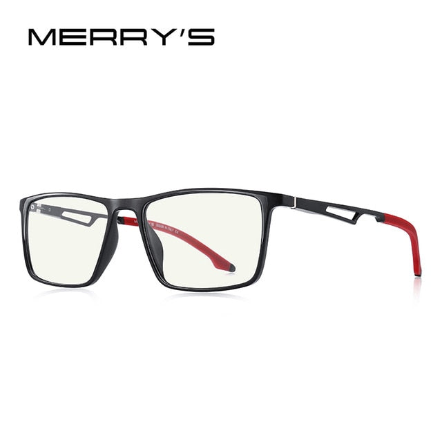 MERRYS DESIGN Men Anti Blue Ray Light Blocking Glasses UV400 Glasses For Computer Aluminum Legs With Silicone Temple S2270