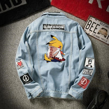 Load image into Gallery viewer, 2020 denim jacket men's spring and autumn Korean student trend Pikachu denim men's autumn loose casual jacket