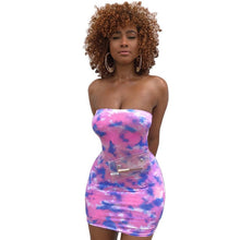 Load image into Gallery viewer, Bodycon Sexy Tie Dye Mini Dress Women Spaghetti Strap Dresses Summer Fashion 2019 Streetwear Neon Slim Skinny Sleeveless Dresses