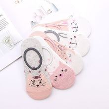 Load image into Gallery viewer, 28 Style 10 Piece=5 Pairs/lot Cute Harajuku Animal Socks Women Summer Korean Cat Bear Rabbit Funny Low Cut Ankle Sock Happy Sox