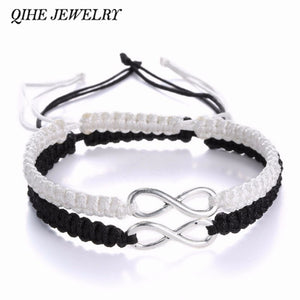 QIHE JEWELRY 2pcs Infinity Handmade Bracelet Set Friendship Bracelet Set Infinity Love Couples Bracelet Set Infinity Jewelry