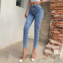 Load image into Gallery viewer, Spring / Summer 2020 New Jeans Women's High Waist Stretch Hip Slim Fit Skinny Skinny Feet Nine Points Pencil Pants