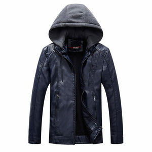Hooded Leather Jacket Men Yellow Blue Black Leather Moto Jacket Mens Motorcycle Fleece Jacket Leather Mens Autumn Winter Fashion