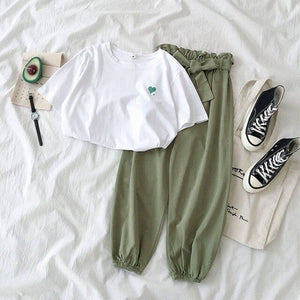 Summer New Female Tracksuits Fashion Clothes Casual Loose White Top and Pant 2 Piece Sets Women Students Girl Sweet Sportswear