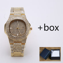Load image into Gallery viewer, Men Watches Fashion Diamond Automatic Date Quartz Watch Men Stainless Steel Hip Hop Men Watches Top Brand Luxury Clock