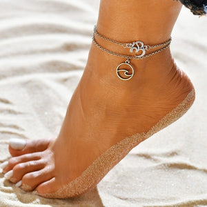 Gold Metal Shell Coconut Tree Female Anklets Barefoot Sandals Foot Summer Double Layers Anklets On Foot Ankle Bracelets