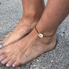 Load image into Gallery viewer, Gold Metal Shell Coconut Tree Female Anklets Barefoot Sandals Foot Summer Double Layers Anklets On Foot Ankle Bracelets