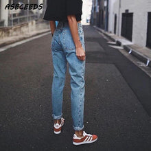Load image into Gallery viewer, Vintage ladies boyfriend jeans for women mom high waisted jeans blue casual pencil trousers korean streetwear denim pants