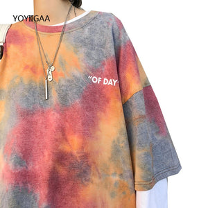 Tie Dye Women's T Shirt Summer Short Sleeve Female T-shirts Casual Tee Tops O-neck Loose Ladies Girls Tshirt Harajuku Women Tops