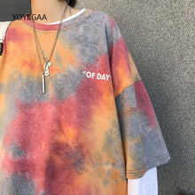 Load image into Gallery viewer, Tie Dye Women's T Shirt Summer Short Sleeve Female T-shirts Casual Tee Tops O-neck Loose Ladies Girls Tshirt Harajuku Women Tops