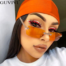 Load image into Gallery viewer, Rimless Diamond Sunglasses Women 2020 Rectangle Steampunk Sun Glasses Crystal Vintage Rhinestone Glasses Eyewear UV400 Oculos