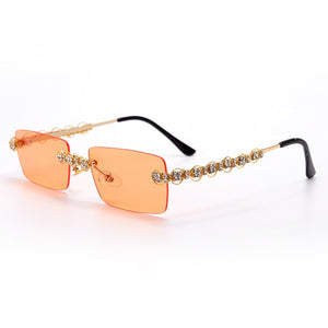 Rimless Diamond Sunglasses Women 2020 Rectangle Steampunk Sun Glasses Crystal Vintage Rhinestone Glasses Eyewear UV400 Oculos