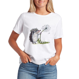 Kawaii T Shirts Women Hedgehog 2020 New Tops Female T-shirt Loose Tshirt Summer Tee White T-shirts Round Neck Oversized T Shirt