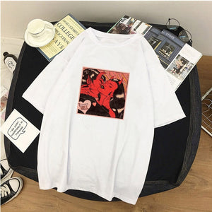 Women T-Shirts Angel Protect Me From My Devil Print Tshirt Harajuku Vintage Shirt Summer Woman Vogue Tops Female T-shirt Clothes