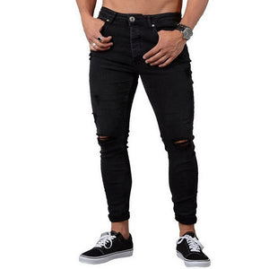 Casual Men Pants Fashion Washed Denim Pants Hip Hop Jeans Streetwear Slim Fit Stretch Biker Jeans Male Pencil Denim Trouser