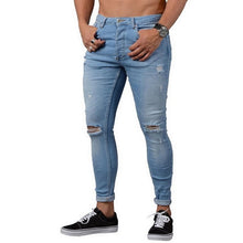 Load image into Gallery viewer, Casual Men Pants Fashion Washed Denim Pants Hip Hop Jeans Streetwear Slim Fit Stretch Biker Jeans Male Pencil Denim Trouser