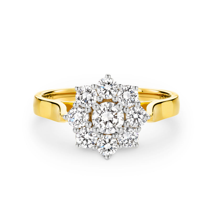 18ct Yellow Gold 1.00ct Cluster Diamond Ring