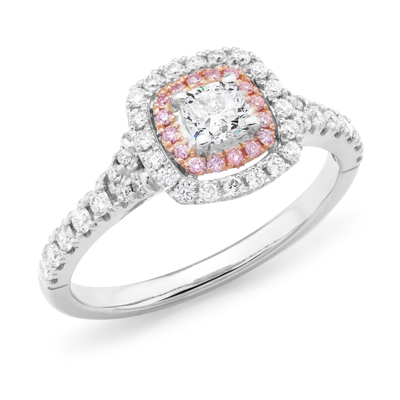 PINK CAVIAR 0.79ct White Round Brilliant Cut & Pink Diamond Halo Ring in 18ct White Gold