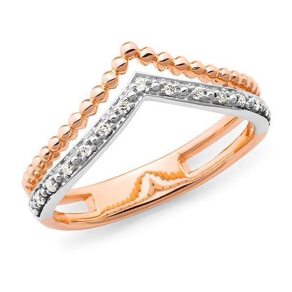 0.075ct Bead Set Diamond Dress Ring in 9ct Rose Gold