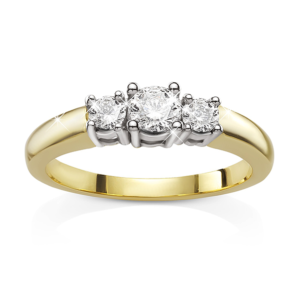 9Ct Yellow Gold 0.20Ct Diamond Trilogy Ring
