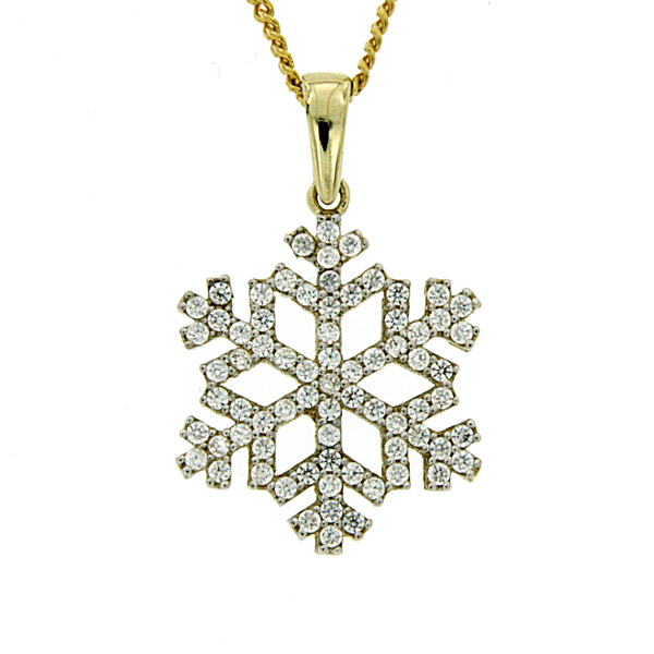 9Ct Yellow Gold Cubic Zirconia Snowflake Pendant