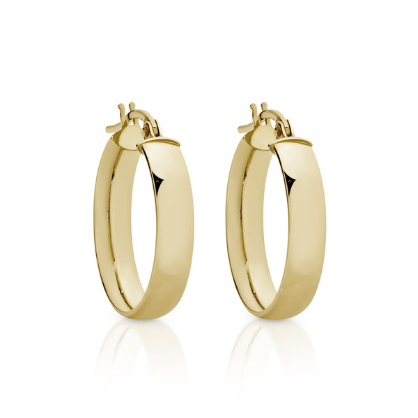 9Ct Yellow Gold Half Round 15Mm Hoop Earrings