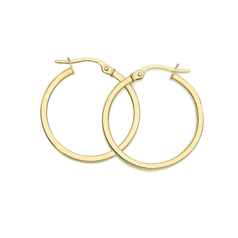 9Ct Yellow Gold Square Tube 20Mm Hoop Earrings