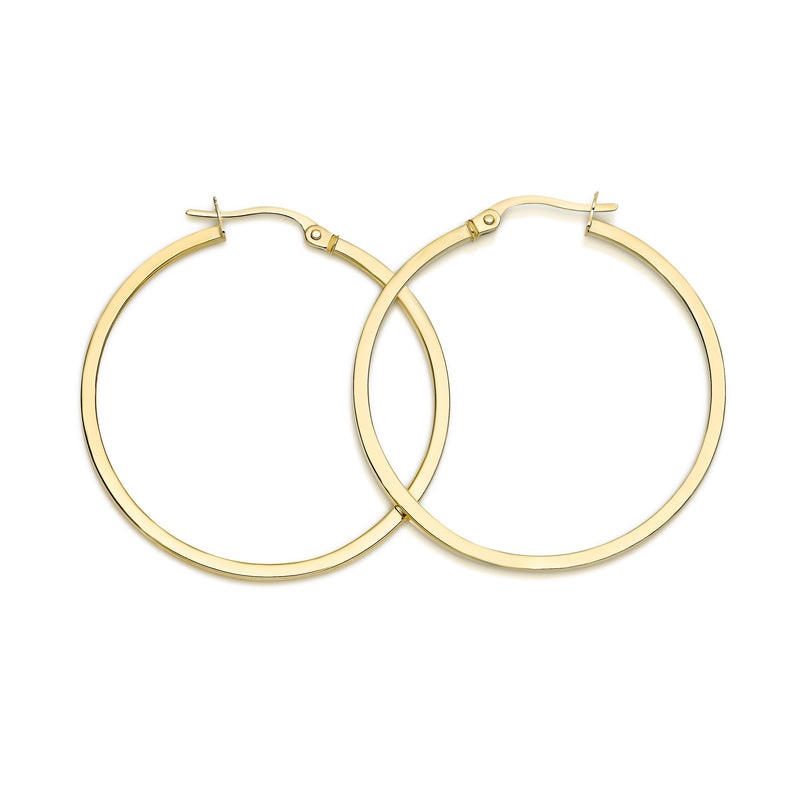 9Ct Yellow Gold Square Tube 30Mm Hoop Earrings