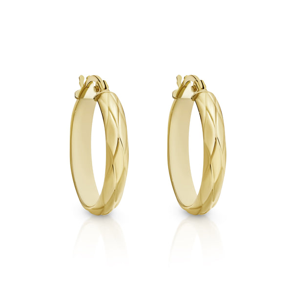 9Ct Yellow Gold Engraved 15Mm Hoop Earrings