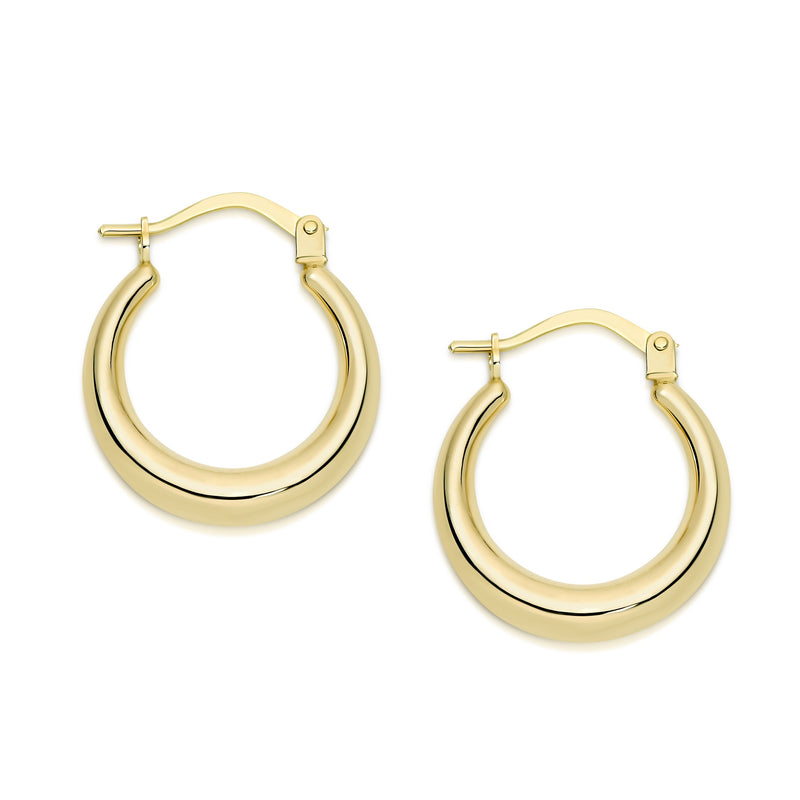 9Ct Yellow Gold Tapered 12Mm Hoop Earrings