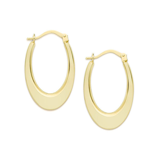 9Ct Yellow Gold Oval Hoop Earrings 12X17Mm