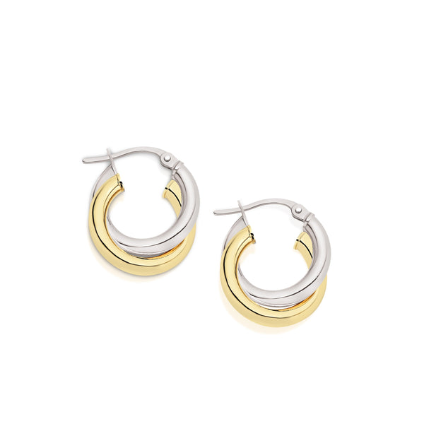 9Ct Yellow Gold Double Tube 10Mm Hoop Earrings