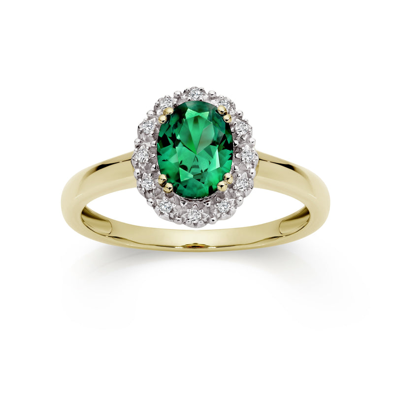 9Ct Yellow Gold Created Emerald & Diamond Ring