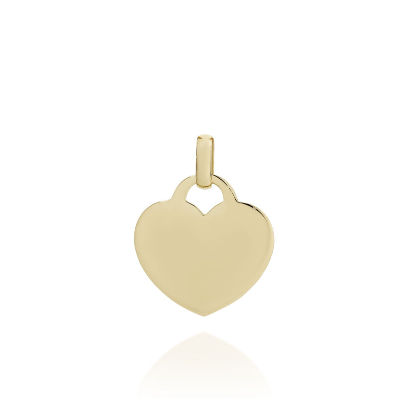9Ct Yellow Gold Engravable Heart Pendant