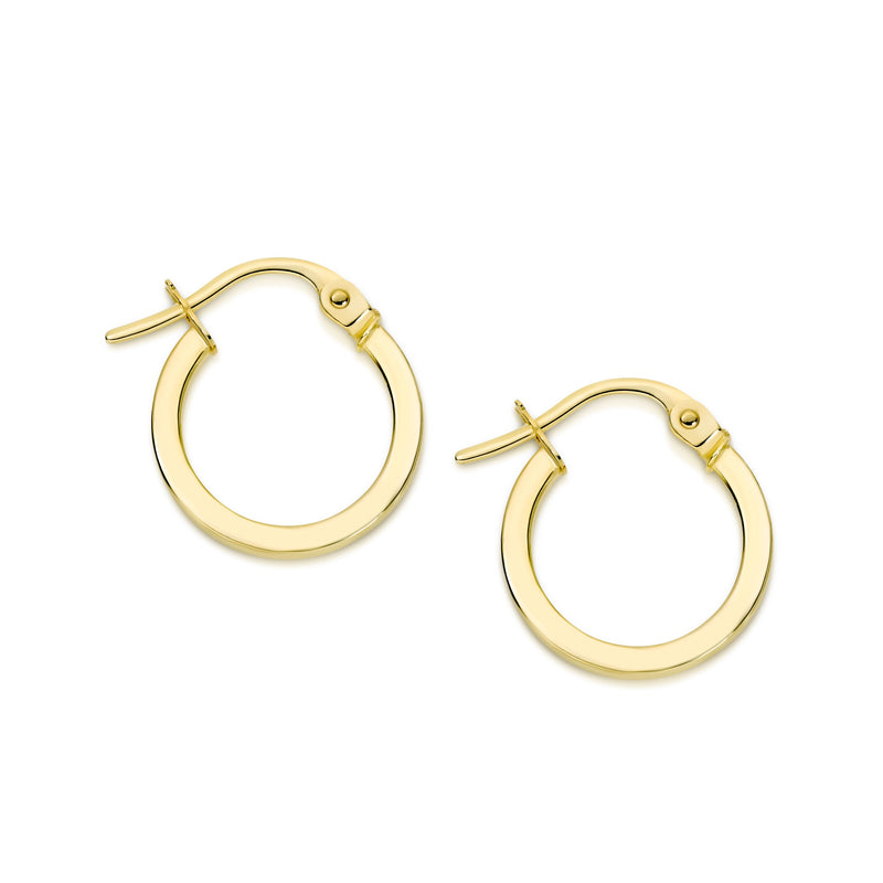 9Ct Yellow Gold Square tube 10Mm Hoop Earrings