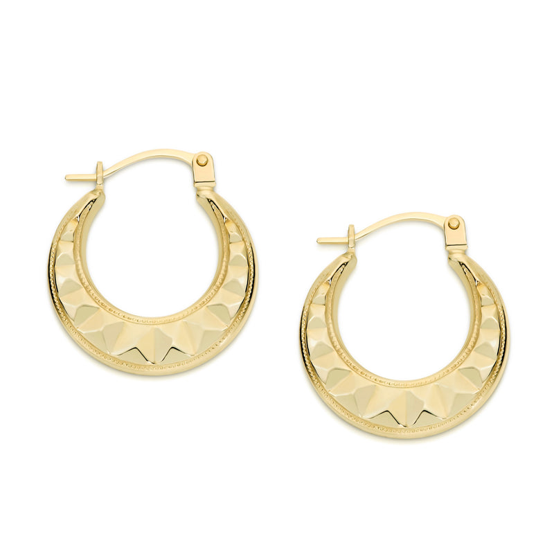 9Ct Yellow Gold Fancy 10Mm Hoop Earrings