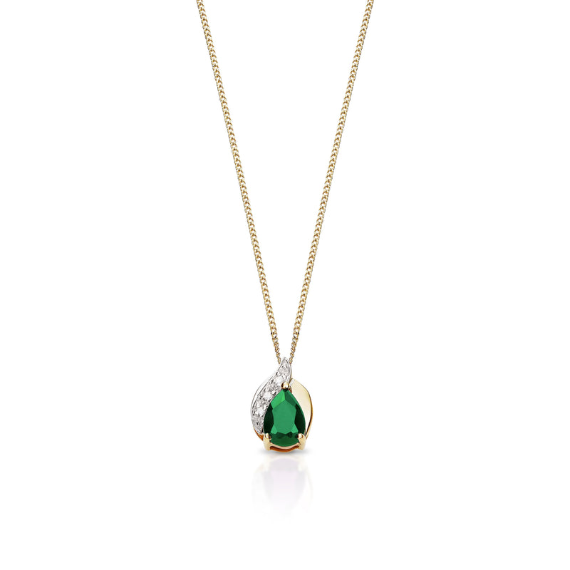 9Ct Yellow Gold Created Emerald & Diamond Pendant