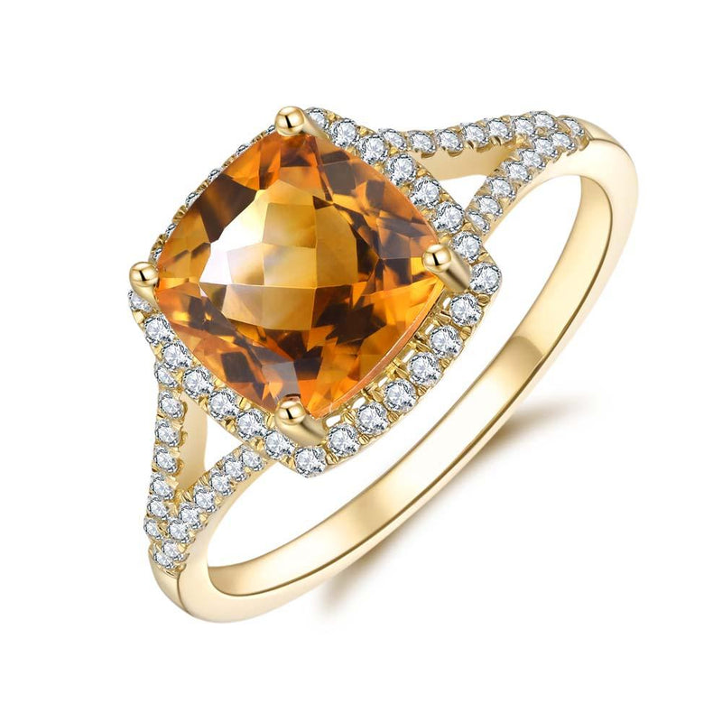 Citrine & Diamond Ring in 9ct Yellow Gold