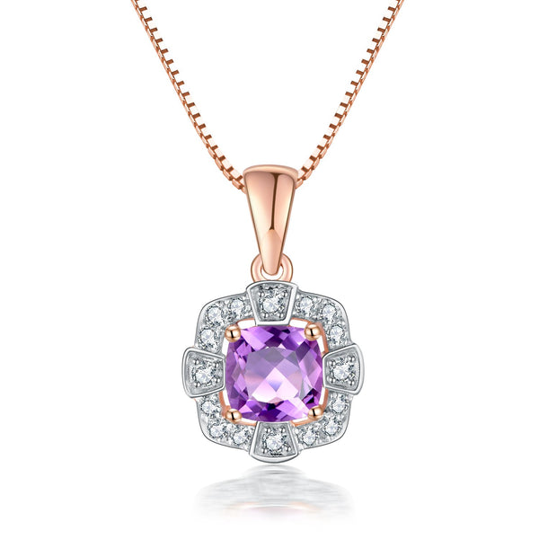 9Ct Rose Gold Pink Amethyst & 0.21Ct Diamond Pendant