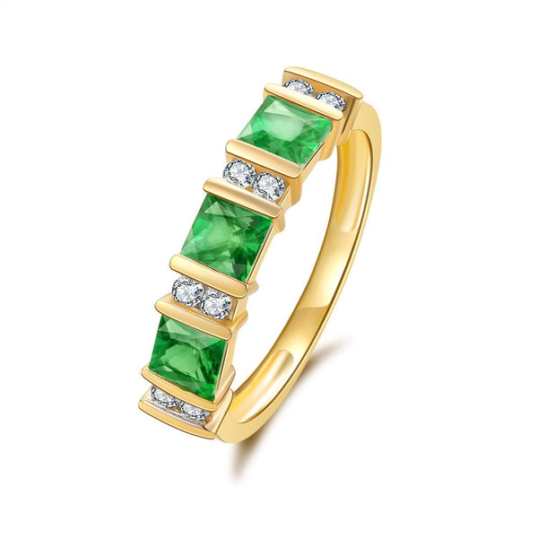 9Ct Gold Created Emerald & 0.176Ct Diamond Ring