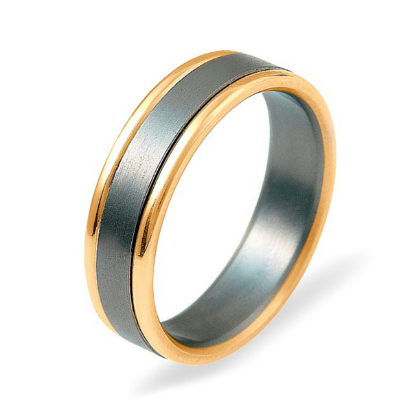 Dora 9ct Yellow Gold & Titanium Ring