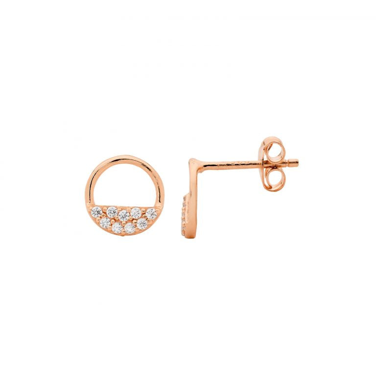 Sterling Silver 9mm Open Circle Earrings, 2 rows  Cubic Zirconia w/ Rose Gold Plating