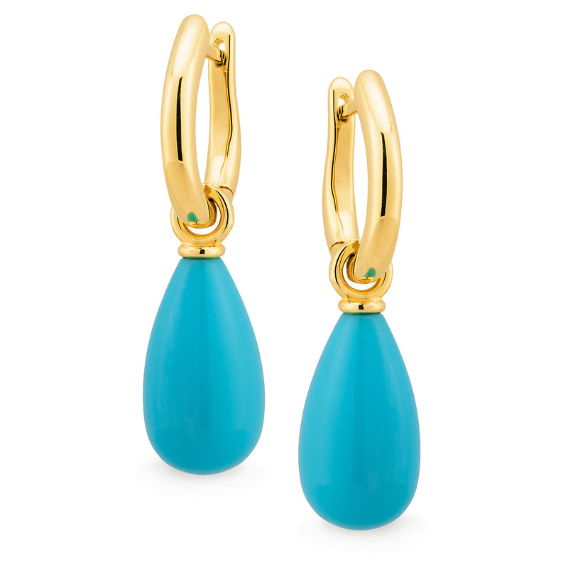 Turquoise (reconstituted) Drop Earrings in 9ct Yellow Gold