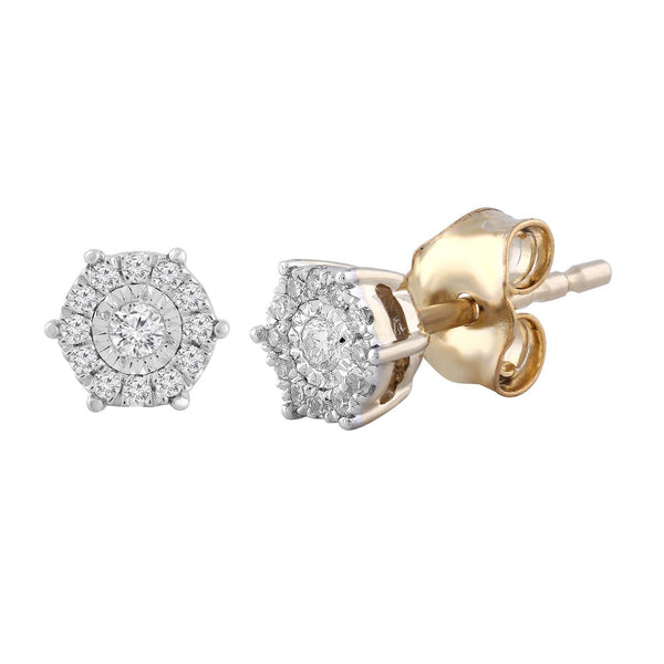 Cluster Stud Earrings with 0.1ct Diamond in 9K Yellow Gold