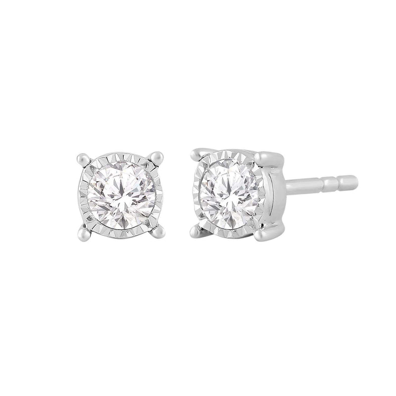 Stud Earrings with 0.25ct Diamond in 9K White Gold