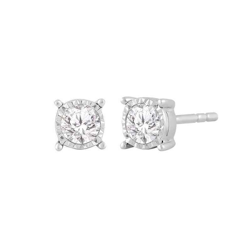 Stud Earrings with 0.1ct Diamond in 9K White Gold