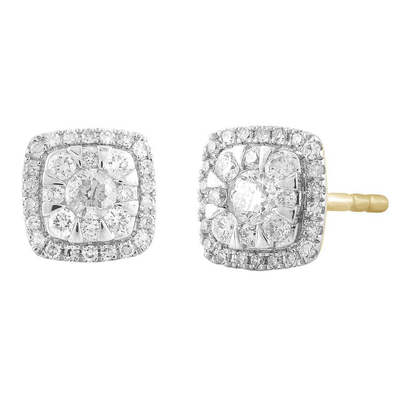 Cluster Stud Earrings with 0.33ct Diamond in 9K Yellow Gold